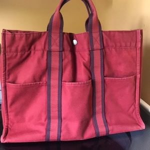 Hermès GM fourre tout brick red and navy blue